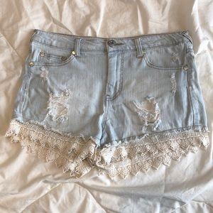 High waisted light wash shorts